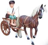 RI10A72 Pferde Figur mit Kunsthaar, Karre und Junge