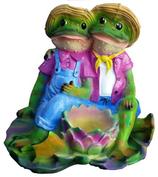 RIA492 Frosch Paar Gartenfigur