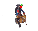 RI7A28 Pirat Figur auf Fass lebensgroß