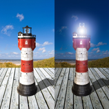 RIJW2325 Leuchtturm Solar Figur Roter Sand Maritime Figur
