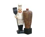 RI9B11 Koch Figur mit Tafel und Döner Deko Garten Werbe Gastro Figur