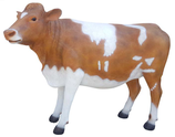 RIA705B Kuh Figur groß braun weiß