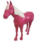 RIA724 Pferde Figur lebensgroß pink Deko Garten Gastro Werbe Figur