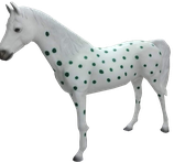 RISAC001B Pferde Figur lebensgroß blau-weiß-rot