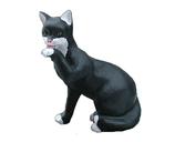 RIB129 Katze Figur leckt Pfote