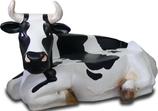RIA222A Kuh Figur lebensgroß als Bank schwarz-weiß