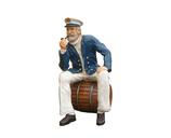 RI7A20 Seemann Kapitän auf Fass lebensgroß Deko Garten Maritim Werbe Figur