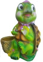 RIA554 Schildkröte mit Topf Gartenfigur