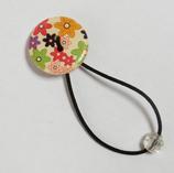 ヘアゴム 花柄ボタンB