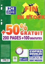 300 PAGES COPIES DOUBLES OXFORD A4 SEYES PERFOREES FIN DE STOCK