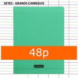 1 CAHIER POLYPRO VERT CALLIGRAPHE A4 21X29,7 48P GRANDS CARREAUX SÉYÈS 90G