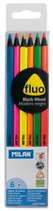 6 crayons Milán Fluo bois noir Cod. 147003