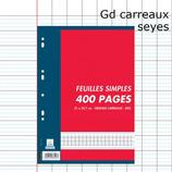 400 PAGES A4 FEUILLETS MOBILES SEYÈS 70G PERFORÉES