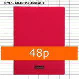 1 CAHIER POLYPRO ROUGE CALLIGRAPHE 24X32 48P GRANDS CARREAUX SÉYÈS 90G