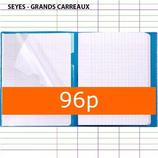 1 CAHIER KOVERBOOK POLYPRO BLEU CLAIREFONTAINE 24X32 96P GRANDS CARREAUX SÉYÈS 90G AVEC MARQUE-PAGES