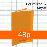 1 CAHIER POLYPRO ORANGE 24X32 CONQUERANT GRANDS CARREAUX SÉYÈS 48P 90G