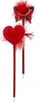24 Stylos coeur ou papillon paillette 21 cm Cod. 033006