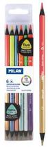 6 crayons fluor&métal bicolor Milan Cod. 147056