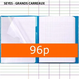 1 CAHIER KOVERBOOK POLYPRO BLEU CLAIREFONTAINE A4 21X29,7 96P GRANDS CARREAUX SÉYÈS 90G AVEC MARQUE-PAGES