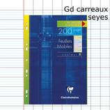 200 PAGES COPIES SIMPLES PERFORÉES A4 CLAIREFONTAINE GRANDS CARREAUX SÉYÈS COULEURS ASSORTIE