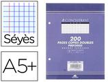 2000 PAGES COPIES DOUBLES CONQUÉRANT SEPT A5+ 170x220MM 70G SÉYÈS PERFORÉES
