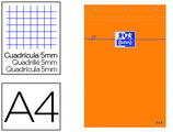 5 BLOCS BUREAU OXFORD A4 PAPIER VÉLIN SURFIN AGRAFÉ EN TÊTE COUVERTURE ENVELOPPANTE 210X297MM 80F 80G 5X5MM COLORIS ORANGE