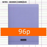 1 CAHIER POLYPRO VIOLET CALLIGRAPHE 24X32 96P GRANDS CARREAUX SÉYÈS 90G