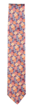 Krawatte, 7.5 cm breit, Blumenmuster, rot