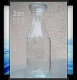 1-Liter-Pyramidenflasche mit Glasdeckel (2er-Set)