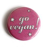 Go Vegan! (pink mit Sternen) - Button