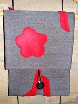 Col en Lainage gris et Polaire rouge