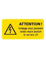 Hinweisschild Ausgeschaltet unter Spannung Engl.