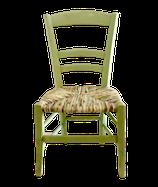 Petite chaise paillée en torons de tissus. Collection Mers. Bois couleur vert céladon.