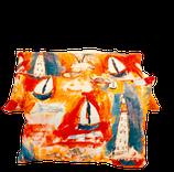 Coussin Tissu d'éditeur Lalie Design (Marquises - Orange) et chanvre ancien