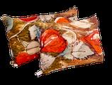 """Coussin Tissu d'éditeur Lalie Design """"Amour en cage"""" 100% lin associé à un métis ancien écru."""