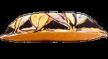 """Coussin Tissu d'éditeur Lalie Design """"Exhubérance"""" et chanvre ancien teint d'un ton curry assorti aux motifs."""