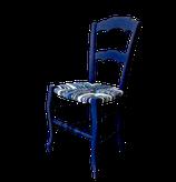 Chaise paillée en torons de tissus de coton. Collection Mers de La Mue Créations. Série limitée confinée