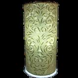 Lampe à poser cyclindrique, tissu en lin et soie brodé.