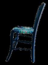 Chaise paillée en torons de tissus. Collection Mers. Bois Bleu marine mat.