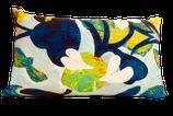 Coussin tissu d'éditeur Lalie Design Aloha cyan et lin ancien teint. Finition manuelle