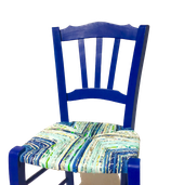 Chaise paillée en torons de tissus. Collection Mers. Bois bleu Majorelle