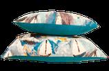 Coussin Tissu d'éditeur Lalie Design (Marquises - Célédon) et lin ancien