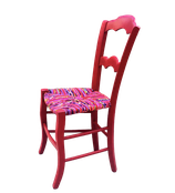 Chaise ancienne paillée en torons de tissus - Collection Bougainvilliers