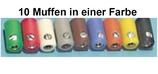 10 Muffen in Schwarz,  2,5 mm