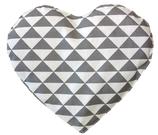 Kirschkernkissen Hellgrau Weiß Dreiecksmuster