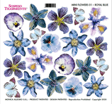 pellicola stampata sospeso trasparente MINI FLOWERS 01 - ROYALE BLUE