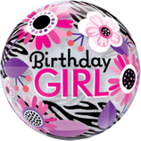 Bubble Birthday Girl Floral Zebra Stripes 55cm