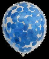 Befüllte Konfetti-Luftballons, blau, 30cm Ø, 6 Stück