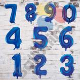 """Ballonzahl - befüllt mit Helium - beschwert mit einem Ballongewicht - """" Zahl Royalblau""""- ca. 100 cm hoch"""