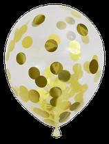 Befüllte  Konfetti-Luftballons, gold, 30cm Ø, 6 Stück